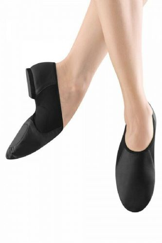 BLOCH Neo-Flex Leather Split Sole Slip on Jazz Shoes Neoprene Arch S0495 Black